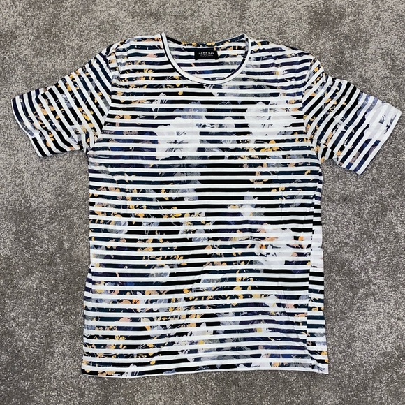Zara Other - Zara Man Floral/Striped T-Shirt, Size SMALL